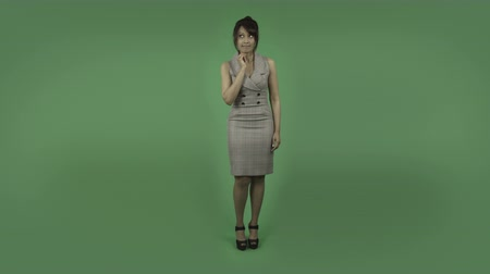 insan parmak : indian business woman isolated on greenscreen chroma green background Stok Video