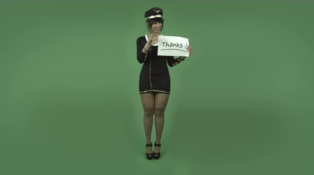 ação de graças : indian air hostess isolated on greenscreen chroma green background Stock Footage