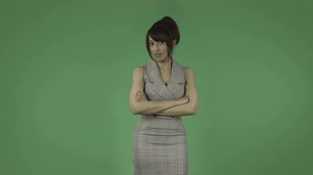 indian ethnicity : indian business woman isolated on greenscreen chroma green background Stock Footage