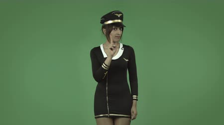 insan parmak : indian air hostess isolated on greenscreen chroma green background Stok Video