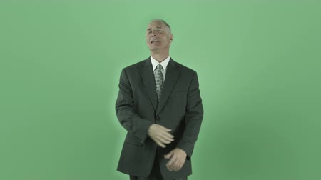 adam : Senior caucasian man isolated on a green screen Stok Video
