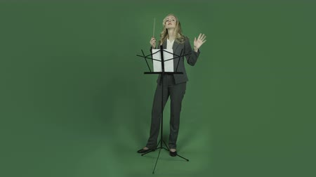 kondüktör : caucasian business woman isolated on chroma green screen background