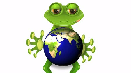 triton : frog and globe Stock Footage