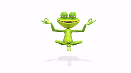 žába : animation a merry curiosity green frog meditates