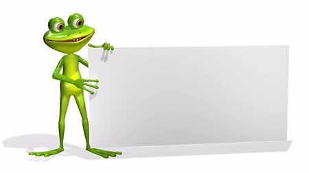 triton : animation merry green frog and white background