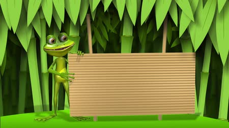 triton : Curious frog on stem of the bamboo Stock Footage