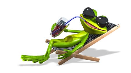 triton : animation green frog with a drink on a sun lounger Stock Footage