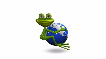 triton : Frog on globe Stock Footage