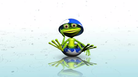 triton : animation merry green frog in the globe with water