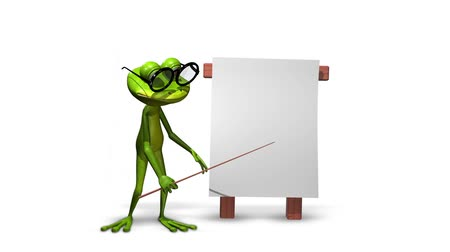 triton : Animation green frog with a pointer and a white background