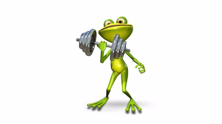 triton : Animation Frog with a Dumbbell_alpha channel Transparent background