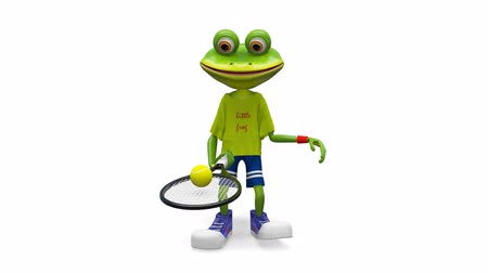 triton : 3D Animation Frog with Tennis Racket with Alpha Channel on a Transparent Background looped Video