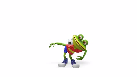triton : 3D Animation Frog Football Player with Alpha Channel on a Transparent Background looped Video
