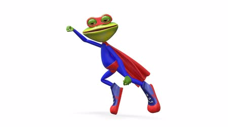 triton : 3D Animation Merry Super Frog with Alpha Channel on a Transparent Background looped Video Stock Footage