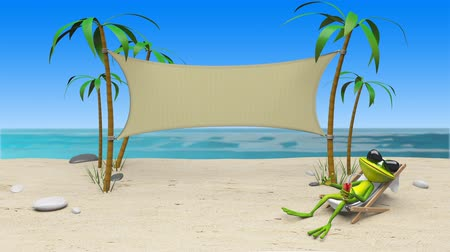 triton : 3D Animation of a Frog in a Deckchair on the Beach and Cloth Background