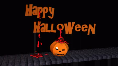 paneling : Happy halloween text with blood drops and pumpkin head on a wooden walkway Stock Footage