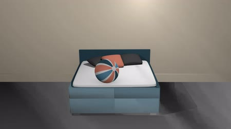 Turquoise double bed with bobbing softballs