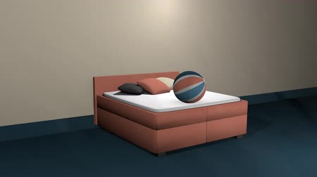 Salmon colored double bed with bobbing softballs Dostupné videozáznamy