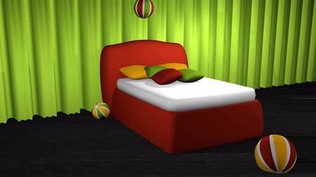Red boxspring bed with bouncing balls on black carpet floor in front of an apple green curtain
