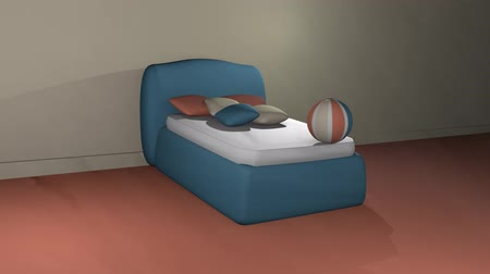 Blue boxspring bed with bouncing softballs