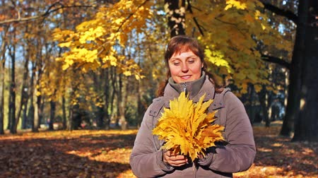brune : nice woman stands and holds in her hands yellow leaves at beautiful autumn city park