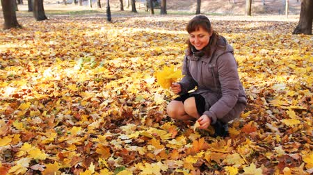 brune : nice woman sitting squatted collects yellow leaves and smiles in beautiful autumn city park Stock Footage