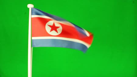 north korean flag : Flag of North Korea green screen Stock Footage