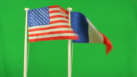 francês : Flag of USA and France green screen