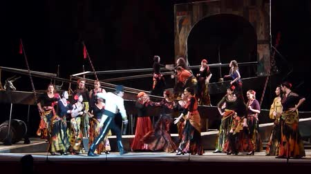 bizet : DNIPRO, UKRAINE - JUNE 23, 2016: Members of the Dnepropetrovsk State Opera and Ballet Theatre perform CARMEN