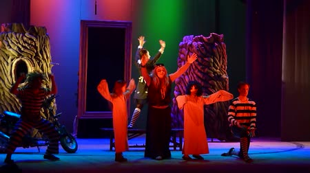 ator : DNIPRO, UKRAINE - JANUARY 9, 2017: Save Snow White performed by members of the Dnipro State Drama Theatre Stock Footage