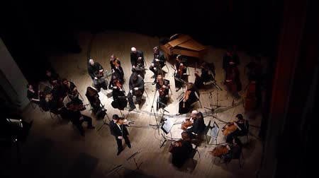 симфония : DNIPRO, UKRAINE - JANUARY 30, 2017: Famous violinist Eugene Kostritsky and members of the FOUR SEASONS Chamber Orchestra perform a concert Antonio Vivaldis Four Seasons at the State Drama Theatre. Стоковые видеозаписи