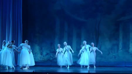 bale : DNIPRO, UKRAINE - MAY 24, 2017: Classical ballet Sylphs (Shopeniana) performed by members of the Dnipro Opera and Ballet Theater.