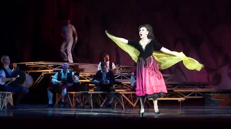akt : DNIPRO, UKRAINE - OCTOBER 28, 2017: Classical opera Pagliacci performed by members of the Dnipro Opera and Ballet Theater.
