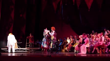 orchestral : DNIPRO, UKRAINE - OCTOBER 28, 2017: Classical opera Pagliacci performed by members of the Dnipro Opera and Ballet Theater.