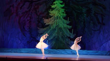 crayon : DNIPRO, UKRAINE - JANUARY 8, 2018: Maria Davydova and Daria Konstantinovskaya, ages 10 years old, perform Variety of Pearls from the ballet The Little Humpbacked Horse at the State Opera and Ballet Theater.