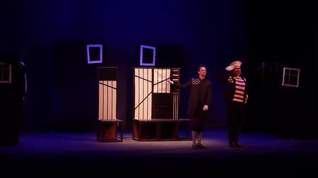 akt : DNIPRO, UKRAINE - JANUARY 20, 2018: Broad comedy on the Tale of Leonid Filatov About Fedot-Sagittarius, a striking young man performed by members of the Dnipro State Drama and Comedy Theater.