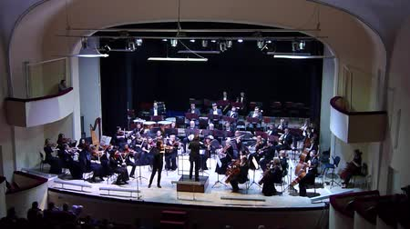 vezető : DNIPRO, UKRAINE - FEBRUARY 15, 2018: Famous Violinist Dmitry Tkachenko and Academic Symphony Orchestra - main conductor Natalia Ponomarchuk perform music by Antonin Dvorak at the Philharmonics. Stock mozgókép