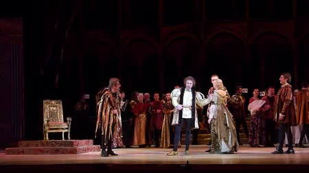 vocalist : DNIPRO, UKRAINE - FEBRUARY 17, 2018: Classical opera Rigoletto performed by members of the Dnipro Opera and Ballet Theater.