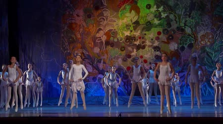 só : DNIPRO, UKRAINE - JANUARY 8, 2018: Unidentified girls, ages 7-10 years old, perform Ballet pearls show at State Opera and Ballet Theater.