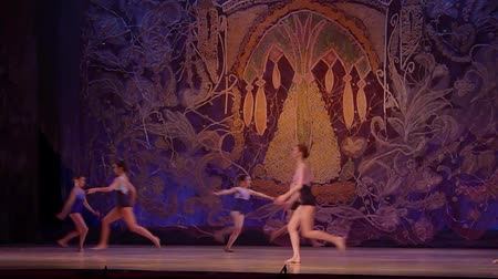 stvoření : DNIPRO, UKRAINE - JANUARY 8, 2018: Unidentified girls, ages 13-16 years old, perform I remember only a bright day at State Opera and Ballet Theater. Dostupné videozáznamy