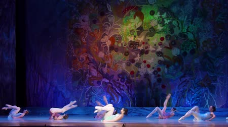 fabuloso : DNIPRO, UKRAINE - JANUARY 8, 2018: Unidentified girls, ages 15-16 years old, perform The whole world at State Opera and Ballet Theater.