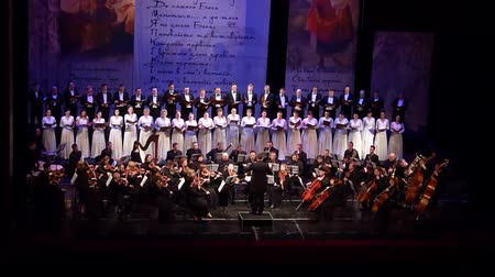 ato : DNIPRO, UKRAINE - MARCH 10, 2018: Caucasus - Cantata symphony for choir and symphony orchestra by S.Ludkevich performed by members of the Dnipro Opera and Ballet Theater - main conductor Nazar Yatskiv.