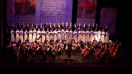 театральный : DNIPRO, UKRAINE - MARCH 10, 2018: Caucasus - Cantata symphony for choir and symphony orchestra by S.Lyudkevych performed by members of the Dnipro Opera and Ballet Theater - conductor Nazar Yatskiv.