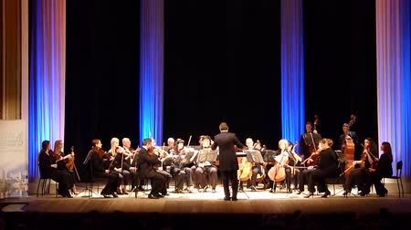 hangjegykulcs : DNIPRO, UKRAINE - MARCH 12, 2018: FOUR SEASONS Chamber Orchestra - main conductor Pauls Suite by Gustav Holst at the State Drama Theater.