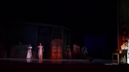 akt : DNIPRO, UKRAINE - JUNE 30, 2018, 2018: Opera Onegin Life performed by members of the Dnipro Opera and Ballet Theater.
