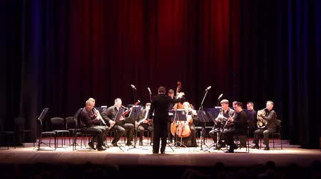 vezető : DNIPRO, UKRAINE - JUNE 18, 2018: FOUR SEASONS Chamber Orchestra - main conductor Dmitry Logvin perform Serenade by Antonin Dvorak at the State Drama Theater. Stock mozgókép