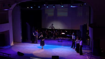 entertainers : DNIPRO, UKRAINE - OCTOBER 20, 2018: The musical Kvitka performed at the Philharmonic ..