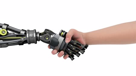 robot : Shake hands with a robot.