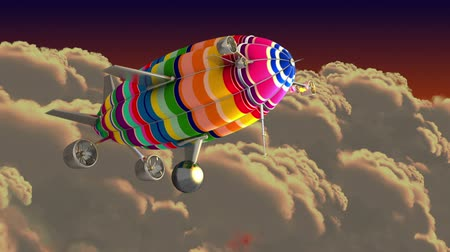 рекламный : Colorful airship in the clouds. Introductory splash with green screen.