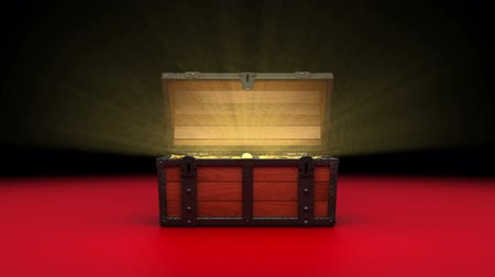 borst : Treasure Chest, gouden munten. Stockvideo